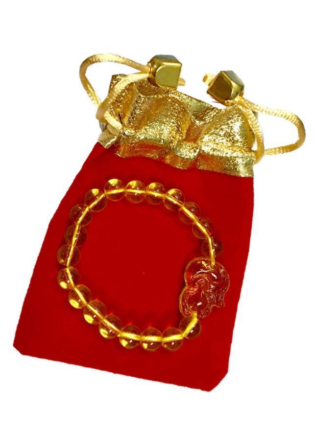 Vòng tay nữ đá thạch anh vàng hút tài lộc gắn hình hồ ly độc đáo VHL01 ( cỡ hạt 8li, có kèm túi nhung cao cấp)