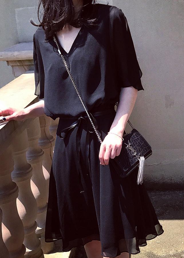 Đầm xòe thời trang cổ chữ V có dây da thắt eo sang trọng 102-ĐN