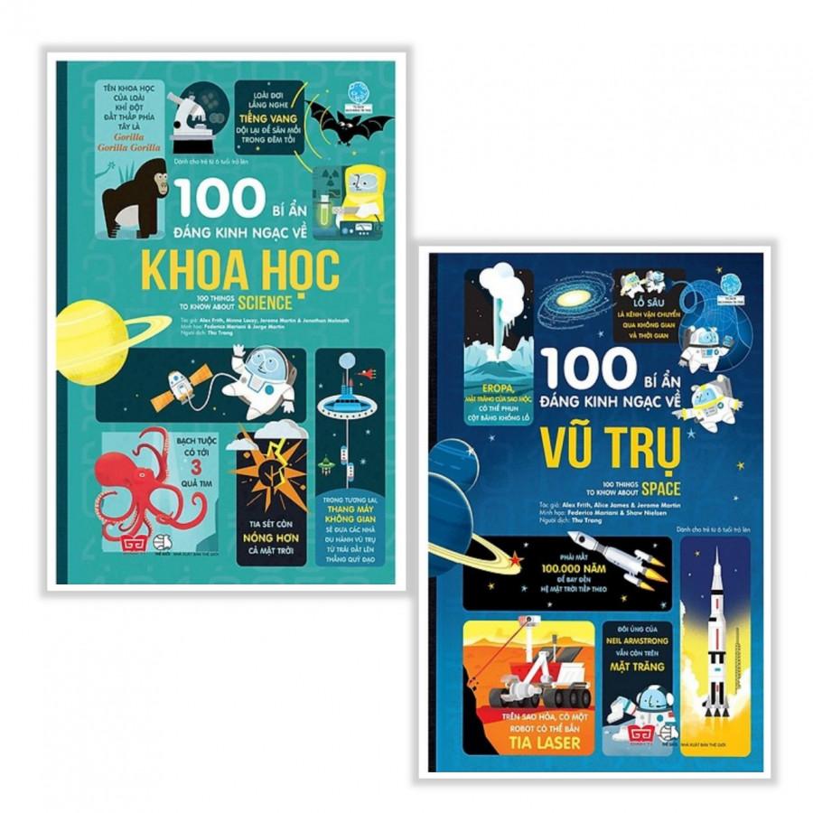 Combo Sách Thiếu Nhi Bổ Ích: 100 Bí Ẩn Đáng Kinh Ngạc Về Vũ Trụ (USBORNE - 100 Things To Know About Space) + 100 Bí Ẩn...