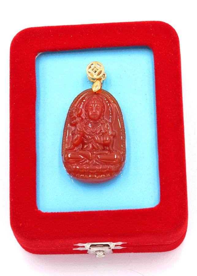 Mặt Phật Đại Thế Chí Bồ Tát thạch anh đỏ 3.6 cm kèm hộp nhung