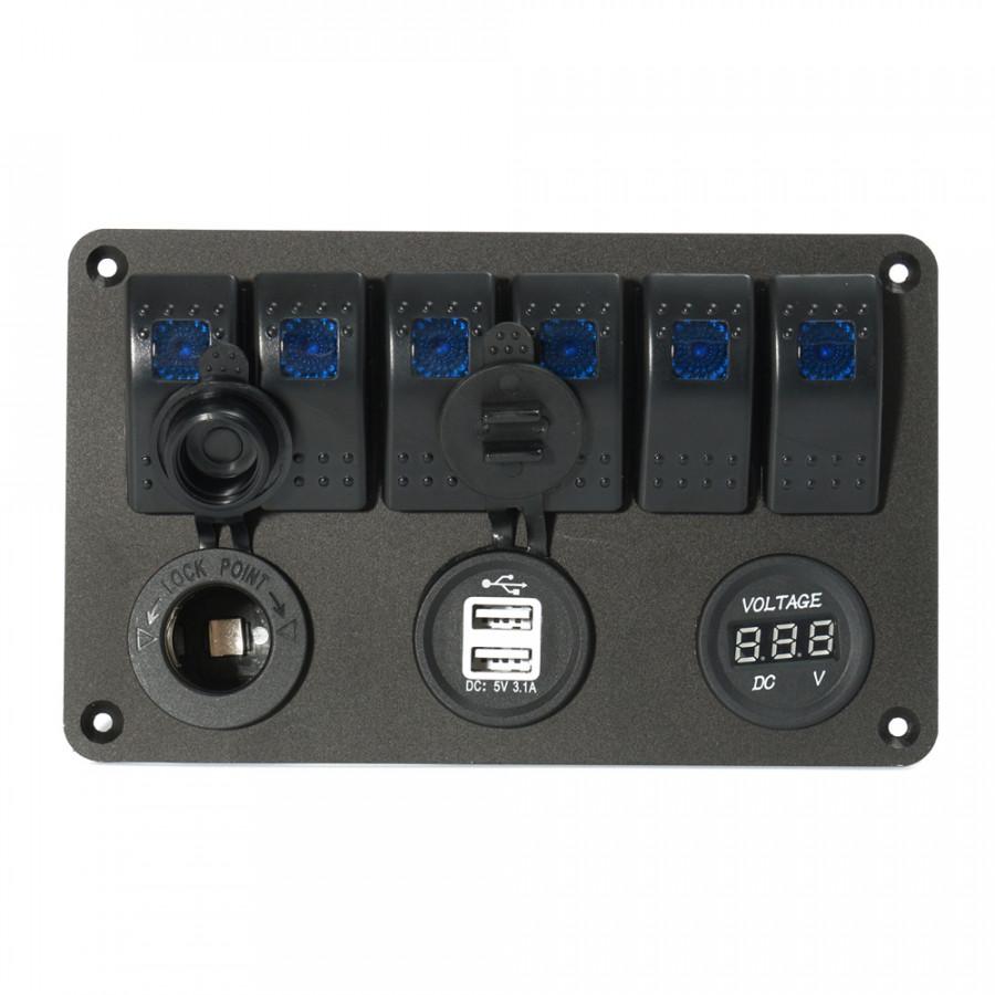 Bảng Điều Khiển Vôn Kế Bộ Sạc USB Kép 6 Nút Bấm LED - 5032492 , 8938353741917 , 62_15229729 , 1263000 , Bang-Dieu-Khien-Von-Ke-Bo-Sac-USB-Kep-6-Nut-Bam-LED-62_15229729 , tiki.vn , Bảng Điều Khiển Vôn Kế Bộ Sạc USB Kép 6 Nút Bấm LED