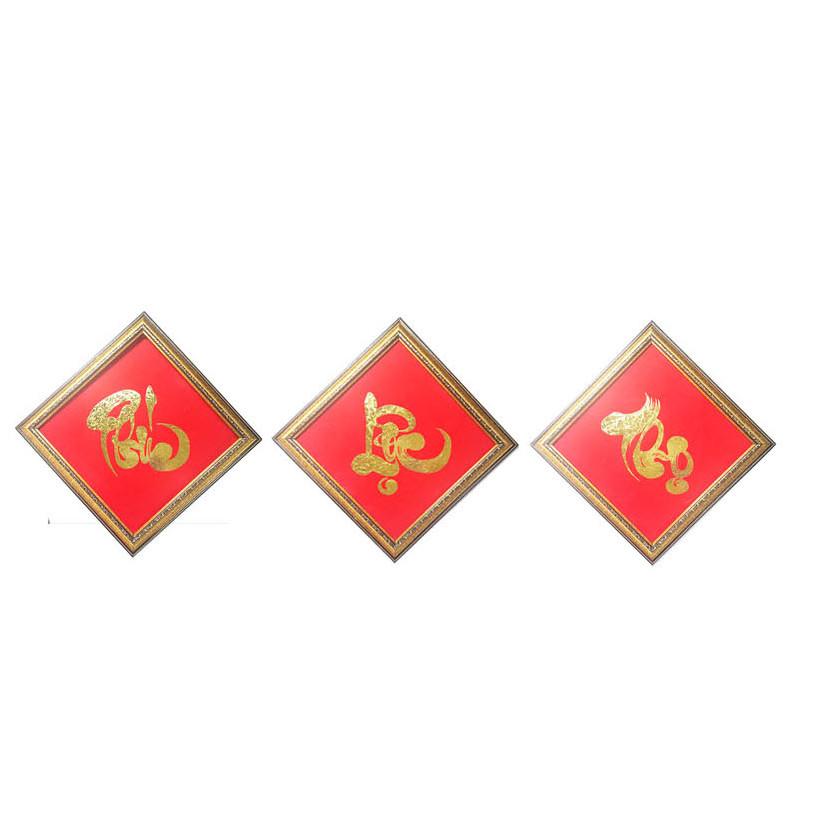 Tranh Nét Vàng - Phúc Lộc Thọ(30x30cm) dát vàng 24k
