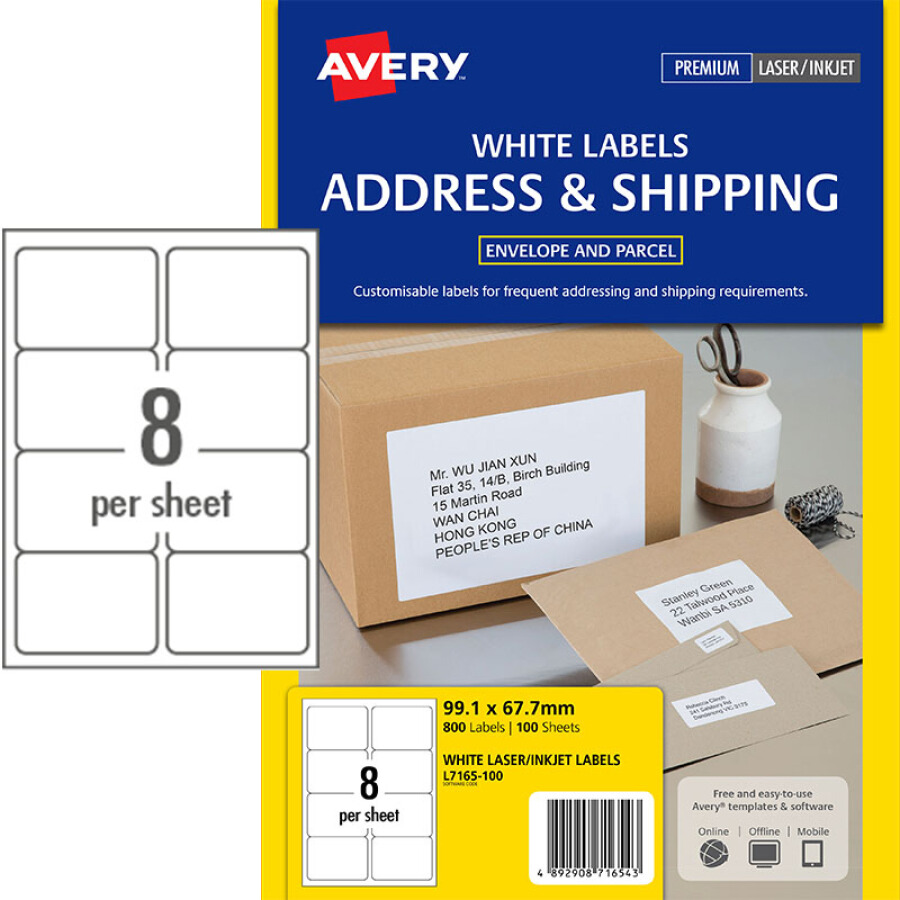 Avery AVERY A4 self-adhesive printing label paper adhesive tape laser inkjet printing coated paper (99.1X67.7mm) 8 pieces / piece 100 sheets /...