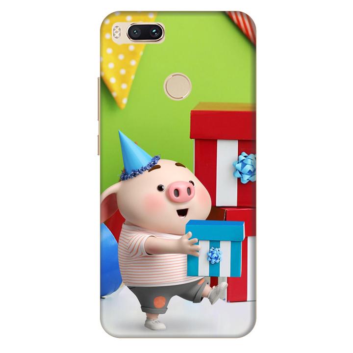 Ốp lưng nhựa cứng nhám dành cho Xiaomi A1 in hình Heo Con Mừng Sinh Nhật