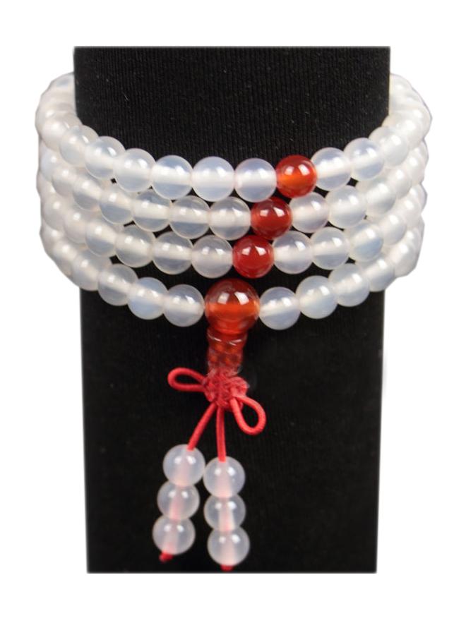 Vòng tay đá Chalcedony trắng 108 hạt phong cách Phật giáo VT20