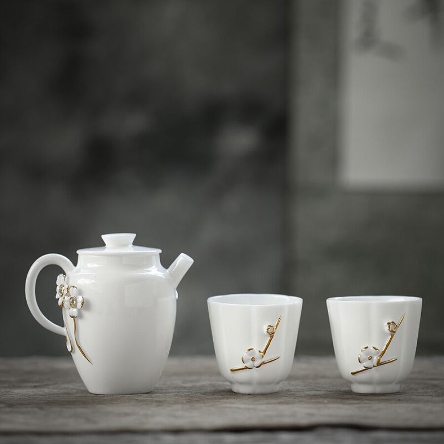 Su Shi ceramic SUSHI CERAMICS non-legacy master tea set Chen Deqiang hand-painted gold sheep fat jade white porcelain one teapot two tea cup...