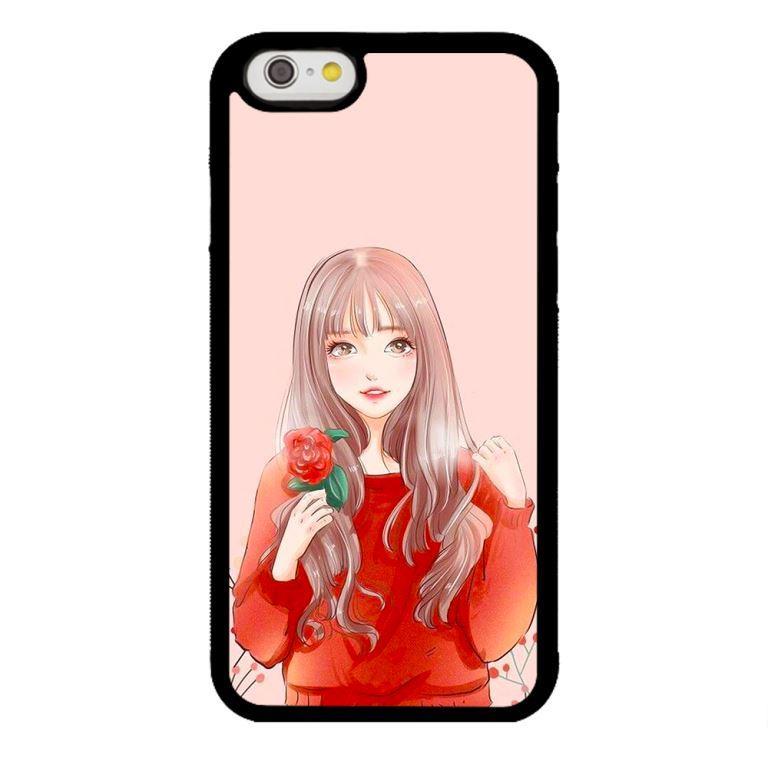 Ốp lưng dành cho điện thoại Iphone 6s Cô Gái Cầm Hoa