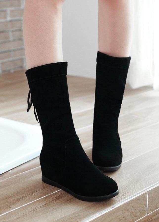 Giày boot nữ cổ lửng dây rút duyên dáng GBN1001