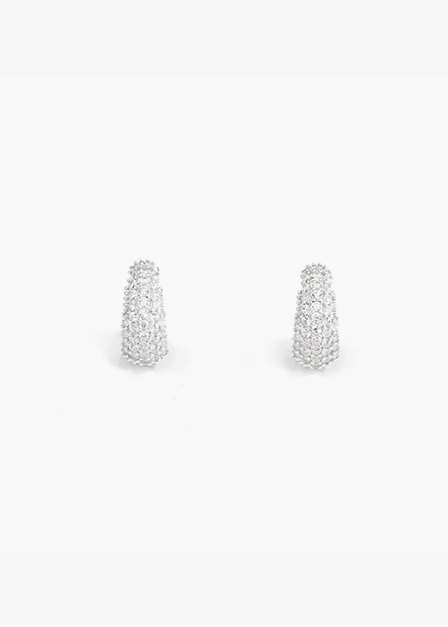 Bông tai khoen đá ốp bạc Ý cao cấp BT239
