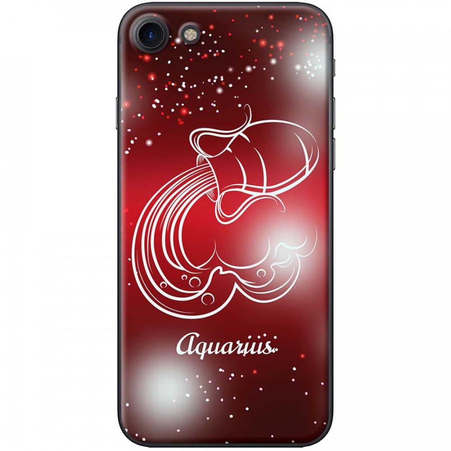 Ốp lưng  dành cho iPhone 7, iPhone 8 mẫu Cung hoàng đạo Aquarius (đỏ)