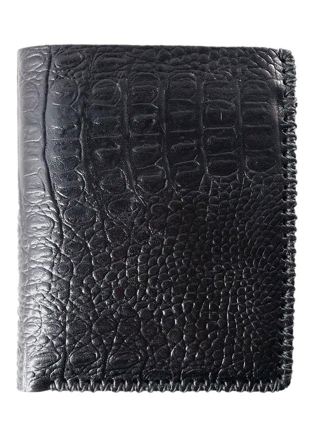 Ví Nam Đứng Không Khóa Da Bò Thật 100% Vân Da Cá Sấu Thủ Công Ariza (12 x 10 cm) - Đen