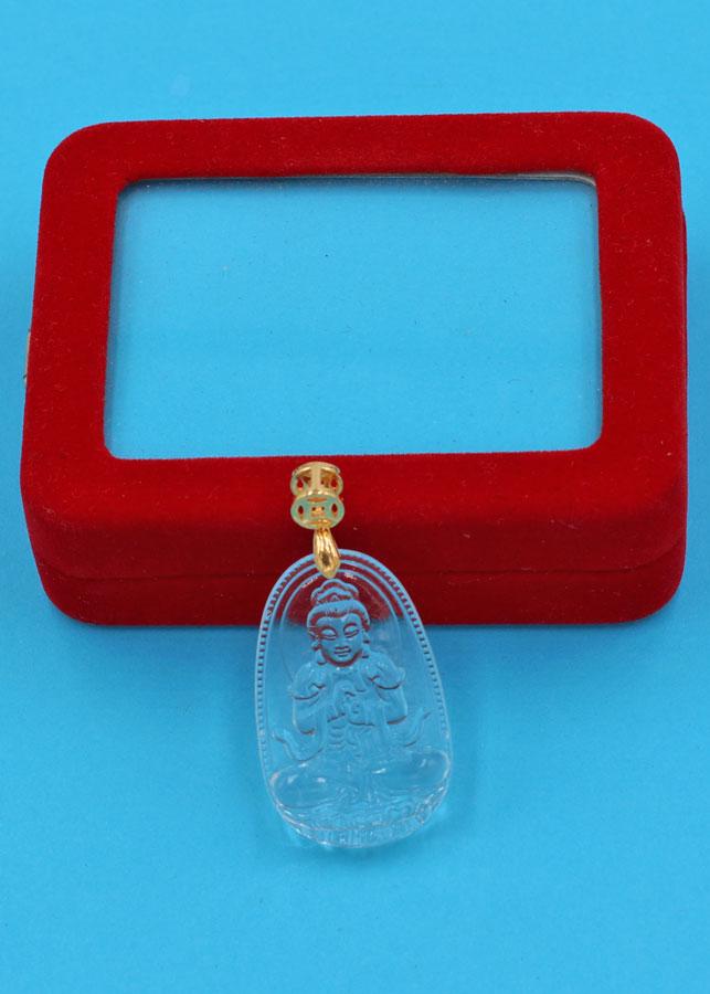 Mặt Phật Đại Nhật như lai - thủy tinh trong 3.6 cm MFBTT5 - kèm hộp nhung - Hợp Mệnh Kim và Mệnh Thủy