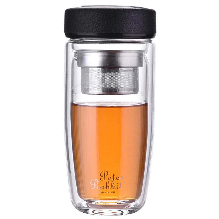 Peter Rabbit double heat-resistant glass business men and women with filter cups fashion portable round belly cup with cup set 380ml black...