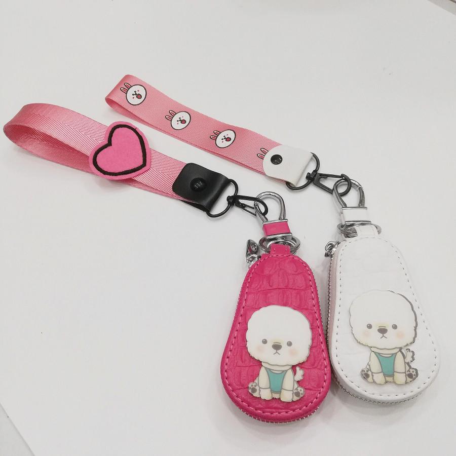 Combo 2 móc khóa dạng bóp hình cún trắng đáng yêu - màu trắng và màu hồng - phối dây hồng