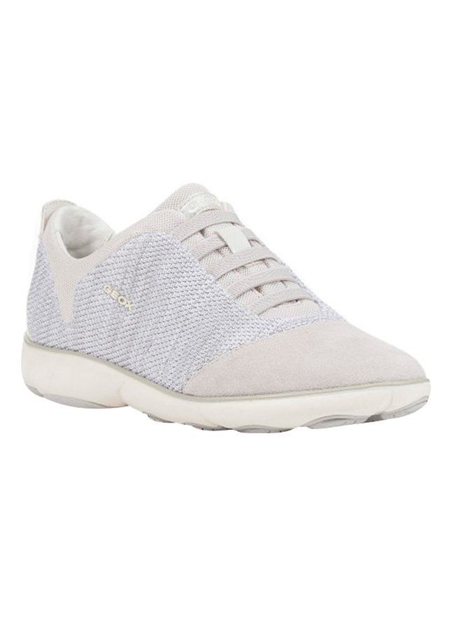 Giày Sneakers Nữ GEOX D NEBULA C KNITT.TEXT.+SUEDE OFF WHITE - Trắng