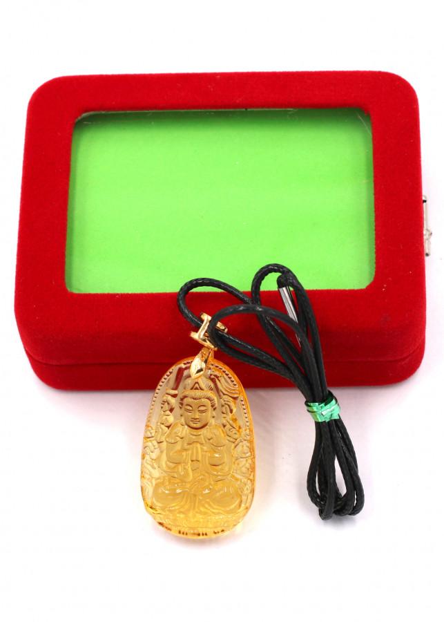 Vòng cổ phật Thiên Thủ Thiên Nhãn thủy tinh vàng 3.6cm kèm hộp nhung