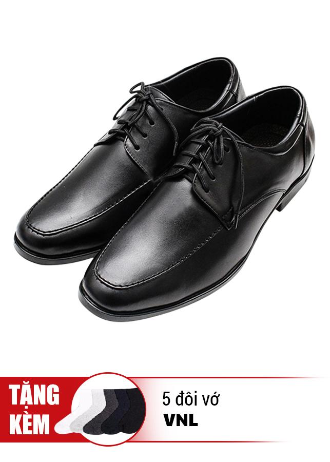 Giày Tăng Chiều Cao Cột Dây Cổ Điển Da Thật VNL VNL0ALZD20CD-QTV - Đen + Tặng 5 Đôi Vớ