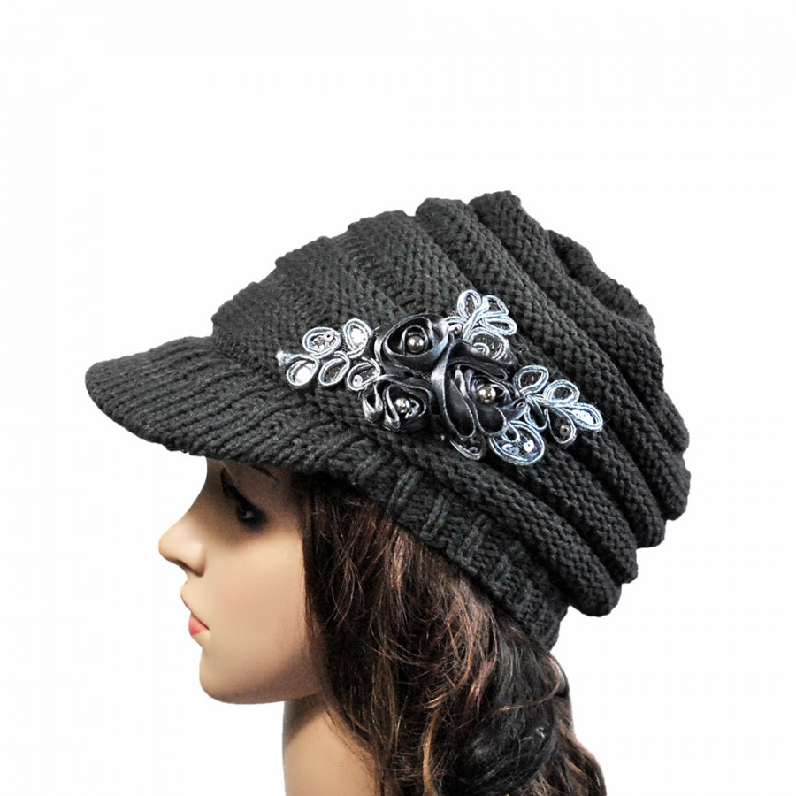Winter Women Cable Knitted Visor Hat with Flower Accent Thick Soft Warm Beanie Hats Wool Cap