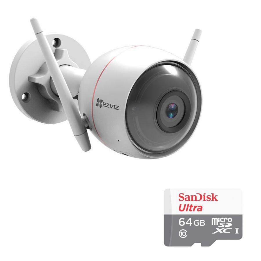 Camera Wifi Ngoài Trời Husky Air CS-CV310 EZVIZ 1.0MP Và Thẻ Nhớ 64GB - Tặng Kèm Tai Nghe Bluetooth