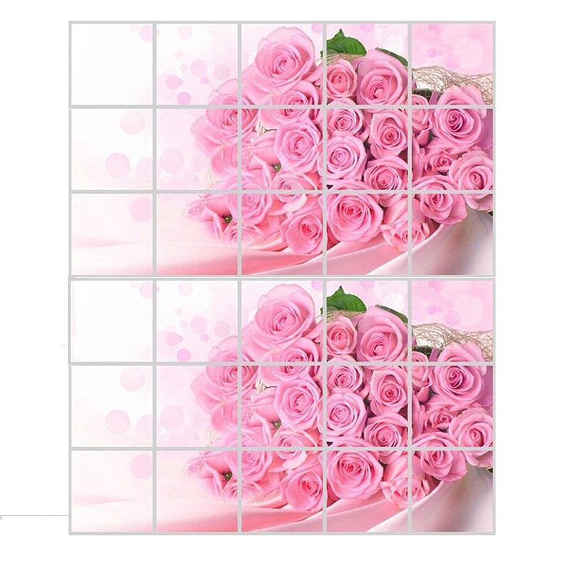 Bộ 02 miếng dán cách nhiệt nhà bếp cỡ lớn hình bó hoa hồng