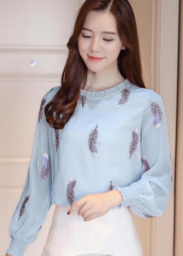 Áo kiểu nữ họa tiết lông vũ BY1056