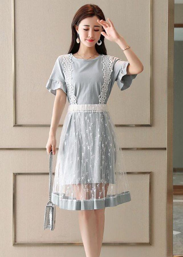 1198825479572 - Đầm tay loe kiểu đầm dạo phố phối tùng lưới rời SANGCHANH1517