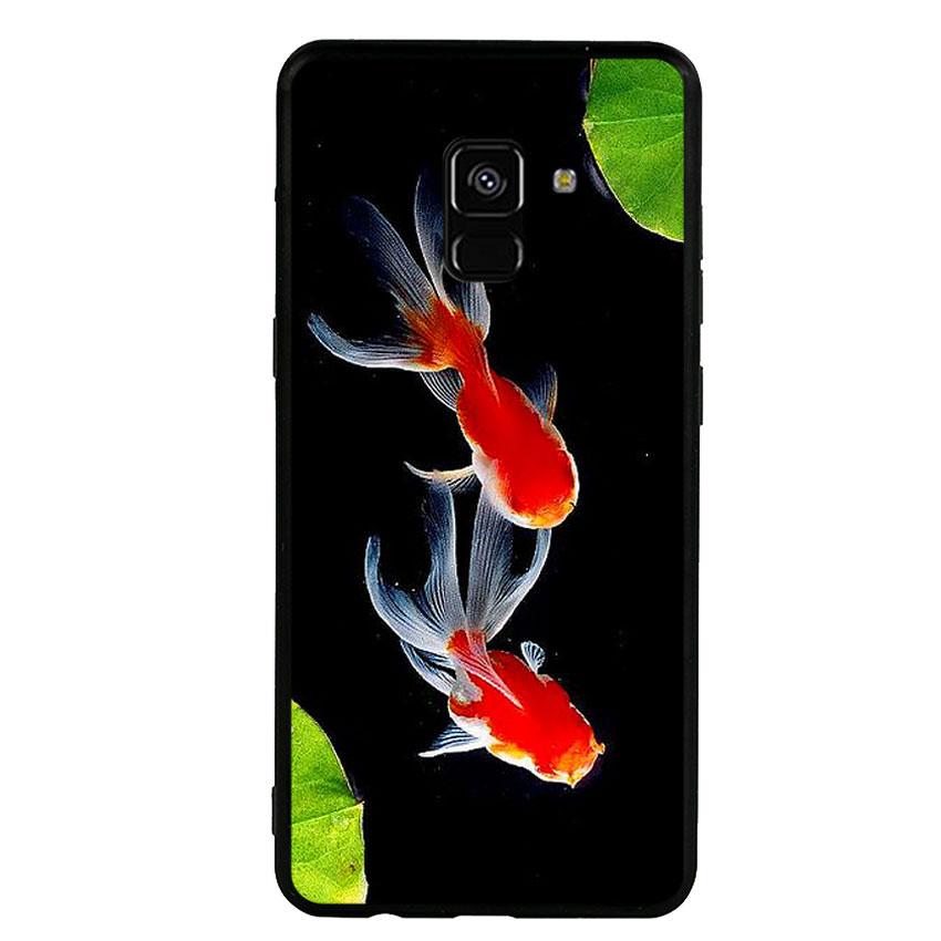 Ốp lưng nhựa cứng viền dẻo TPU cho điện thoại Samsung Galaxy A8 Plus 2018 - Cá Koi 03