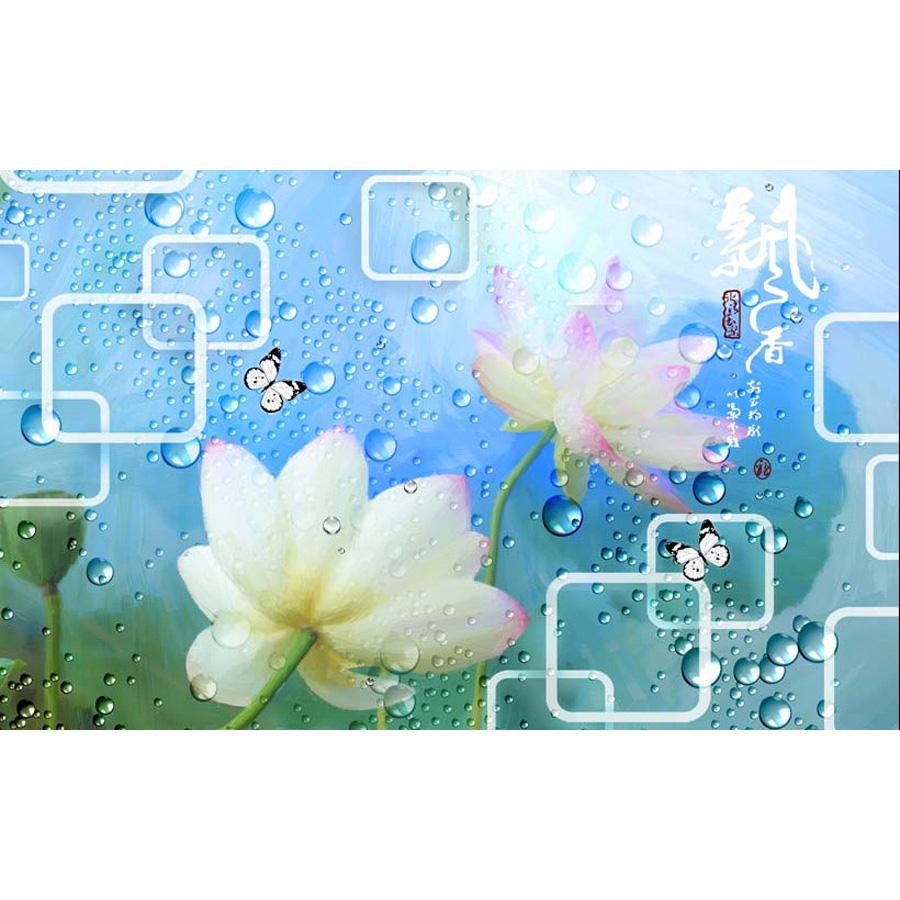 Tranh dán tường phong thủy hoa sen cá chép 3d 316