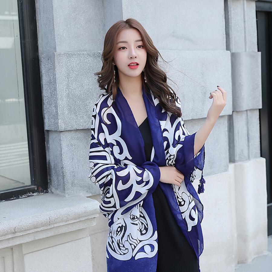 DUSENNA silk scarf female spring and autumn national wind scarf female shawl dual-use wild scarf twill shawl red lion