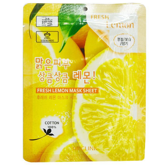Mặt nạ dưỡng da chiết xuất từ chanh 3W Clinic Fresh Lemon Mask Sheet 23ml