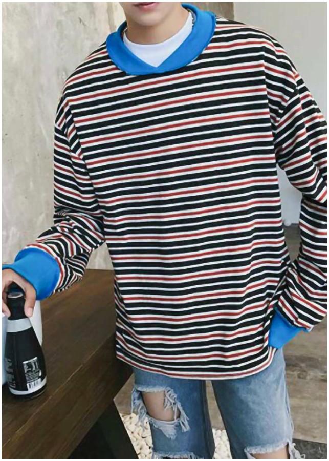 Áo thun nam tay dài sọc phối màu Mã: NT2157 - XANH