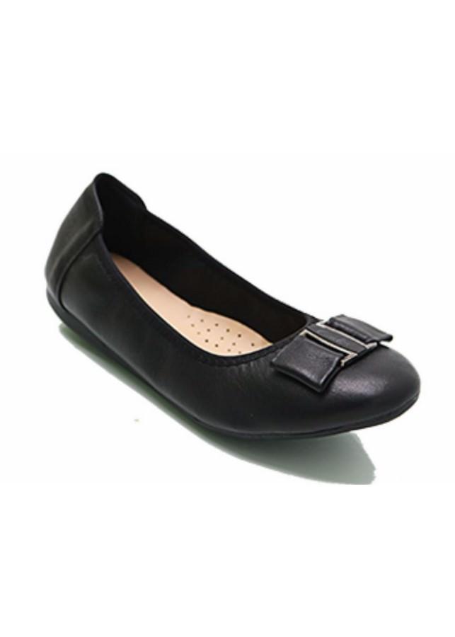 Giày Bệt Nữ Chun Nơ Kẹp - Đen