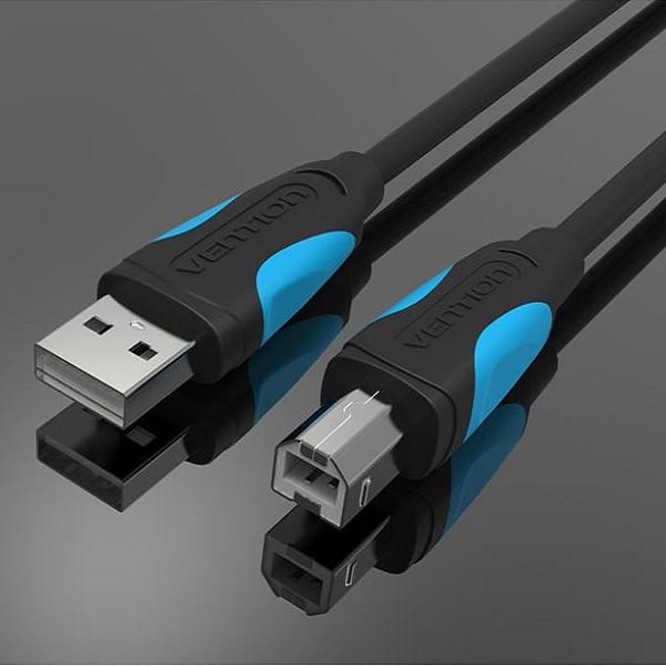 Cáp máy in USB 2.0 Vention VAS-A16-500 dài 5m chính hãng đầu mạ nikel chống gỉ