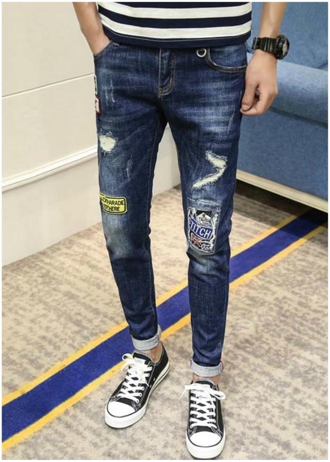 Quần jeans rách chắp vá stitchi Mã: ND1131