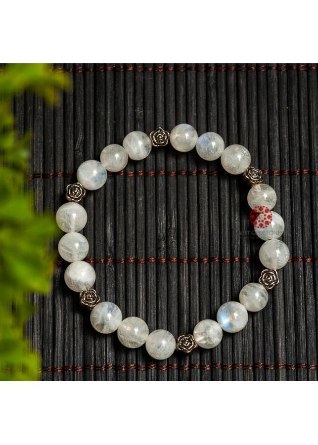 Vòng tay đá Mặt Trăng Moonstone 10mm Mix charm bạc Thái cao cấp BRMOO10M01 - vietgemstones