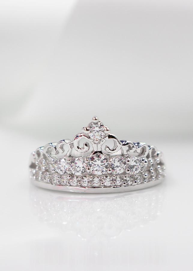 Nhẫn bạc nữ gương miện đính đá NN0177