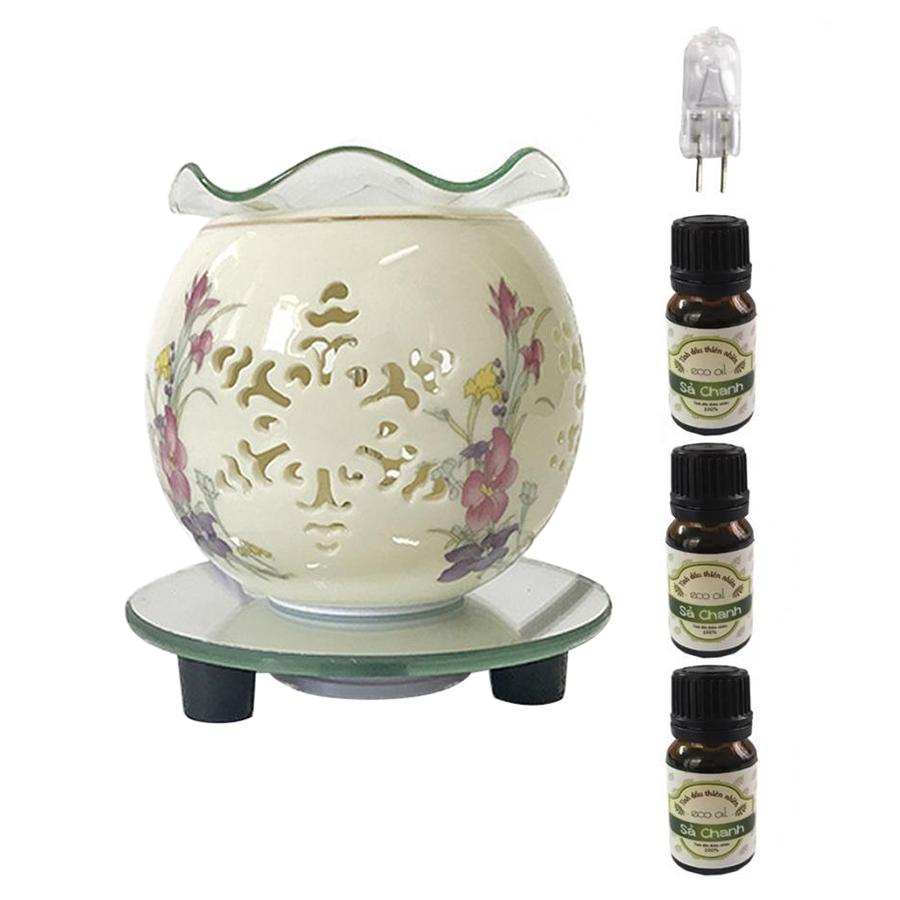 Đèn xông tinh dầu hoa tuyết AH82 và 3 tinh dầu sả chanh Eco 10ml và 1 bóng đèn