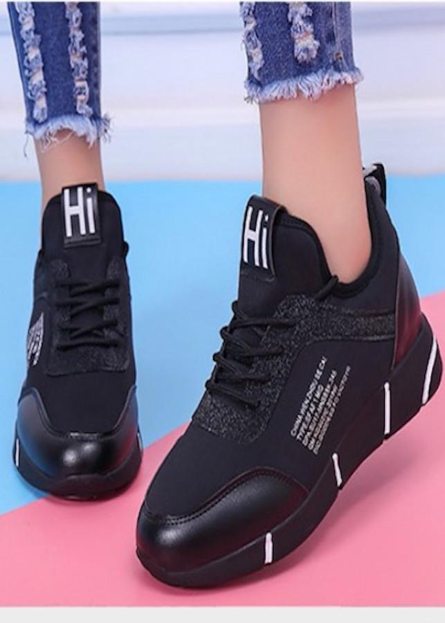 Giày thể thao độn 7p da cao cấp siêu mềm siêu nhẹ màu đen giả dây