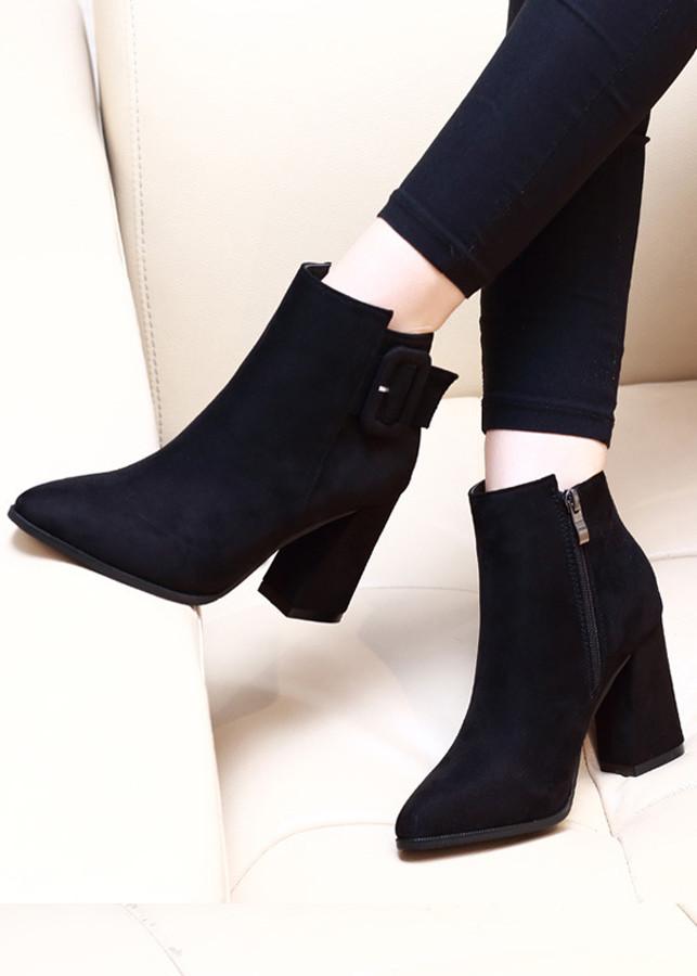 Giày boot nữ đế vuông da lộn sang chảnh GBN198