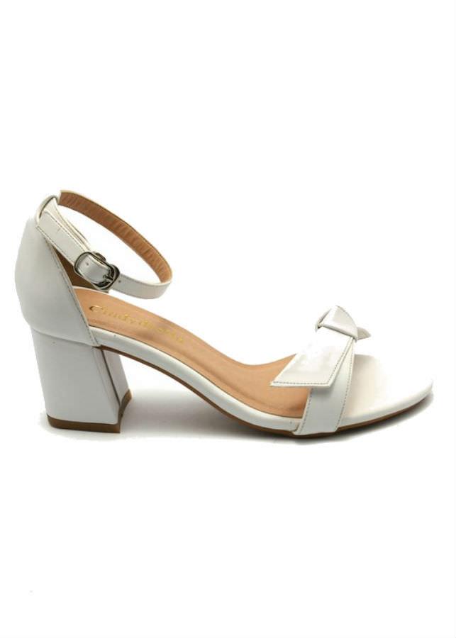 Giày Sandal Nữ Cao Gót Quai Nơ Cindydrella C140T - Trắng