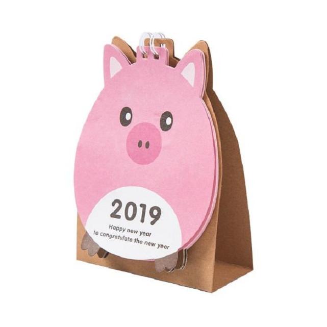 Lịch để bàn Pink pig  2019