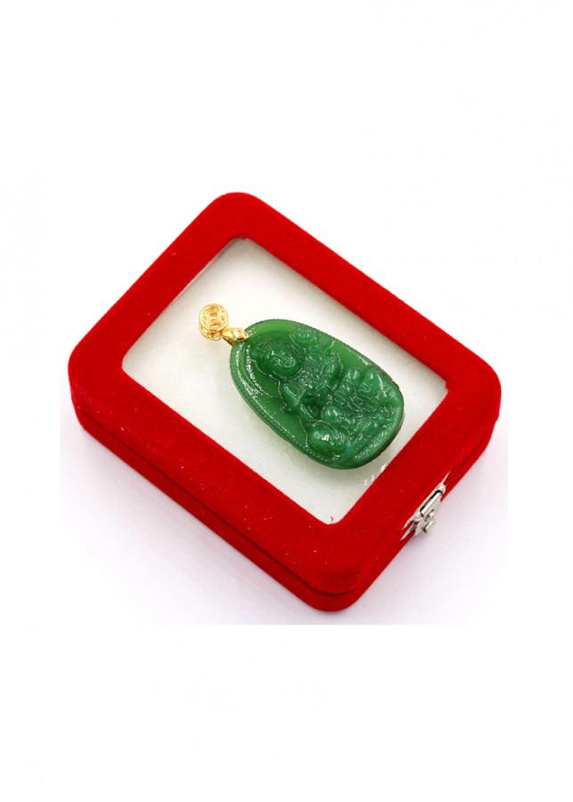 Mặt Phật Bồ tát Phổ hiền xanh 4.3 cm kèm hộp nhung