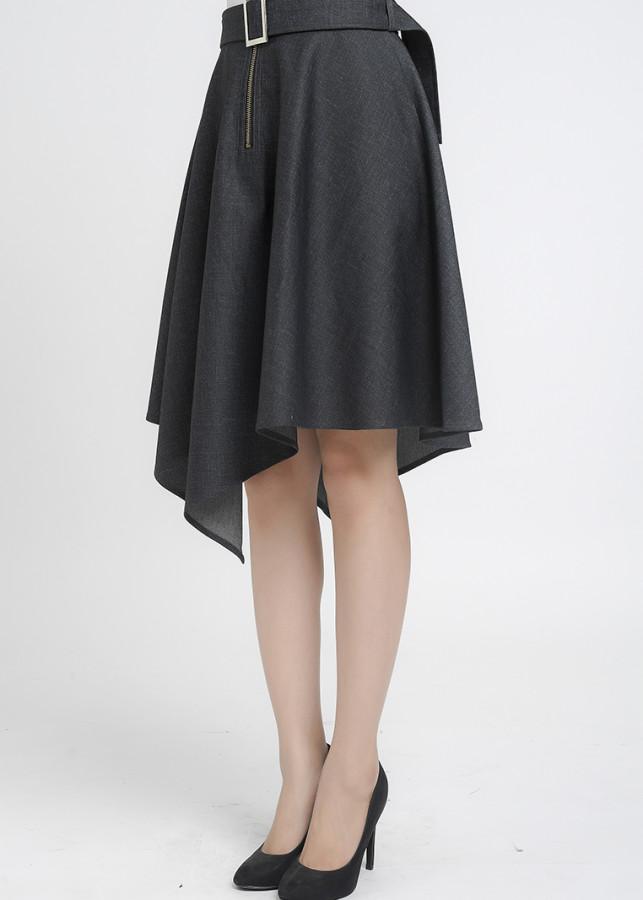 Chân váy xòe vạt lệch Lamer L62L18T009-S1100 (Xám)
