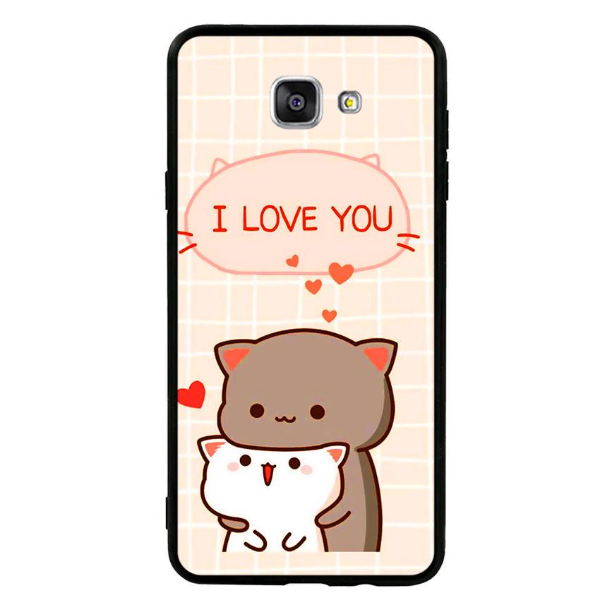 Ốp lưng nhựa cứng viền dẻo TPU cho điện thoại Samsung Galaxy A9 Pro - I Love U