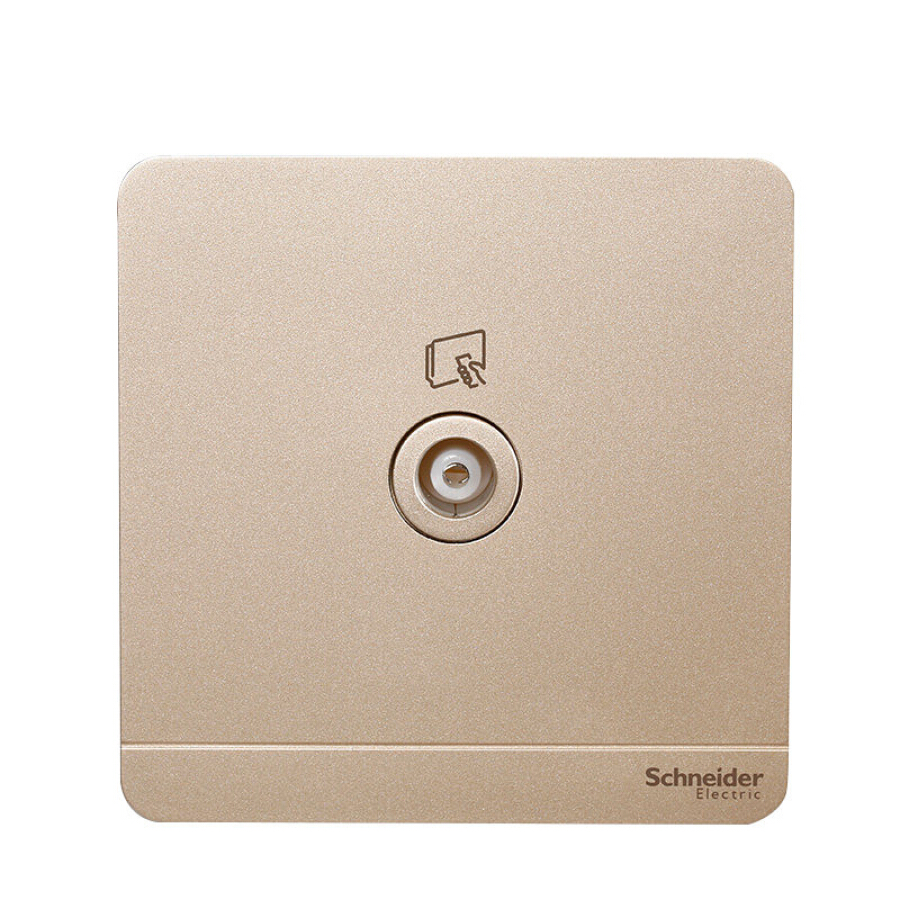 Schneider Electric single 75Ω 5-860MHz shielded TV socket (with one branch) Fashionable thin gold