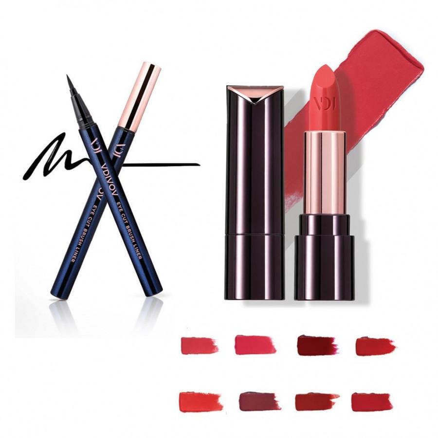 Bộ trang điểm VDIVOV son môi Lip Cut Rouge RD303 FILTER RED 3.8g và bút kẻ mắt nước Eye Cut Brush Liner 01 Black 0.6g - 4815902 , 6723961126353 , 62_15215384 , 820000 , Bo-trang-diem-VDIVOV-son-moi-Lip-Cut-Rouge-RD303-FILTER-RED-3.8g-va-but-ke-mat-nuoc-Eye-Cut-Brush-Liner-01-Black-0.6g-62_15215384 , tiki.vn , Bộ trang điểm VDIVOV son môi Lip Cut Rouge RD303 FILTER RED