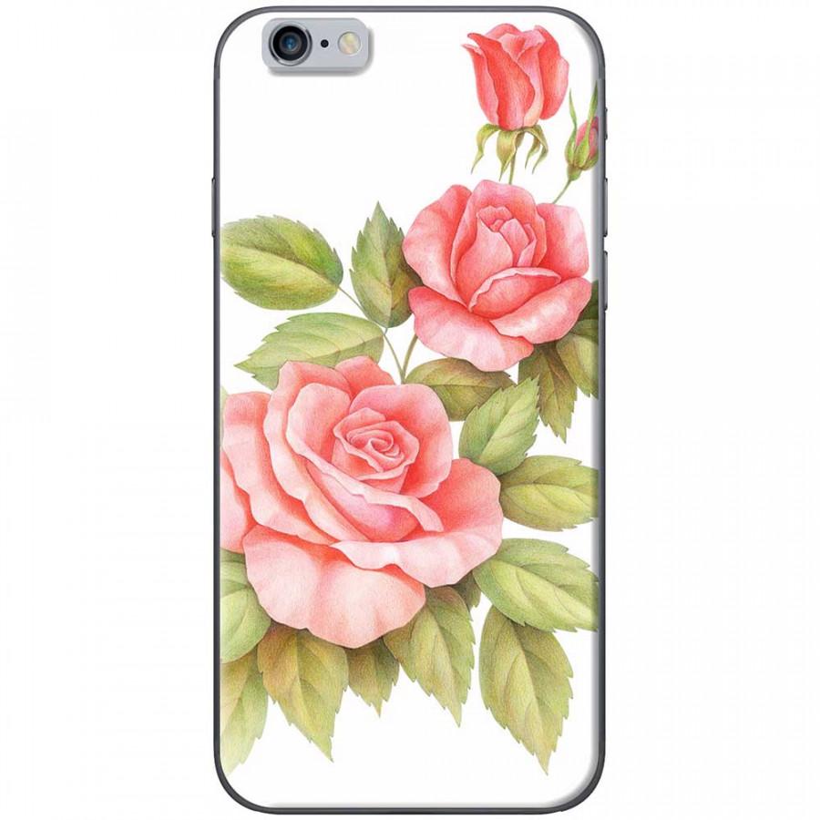 Ốp lưng dành cho iPhone 6 Plus, iPhone 6S Plus mẫu Ba hoa hồng đỏ nền trắng