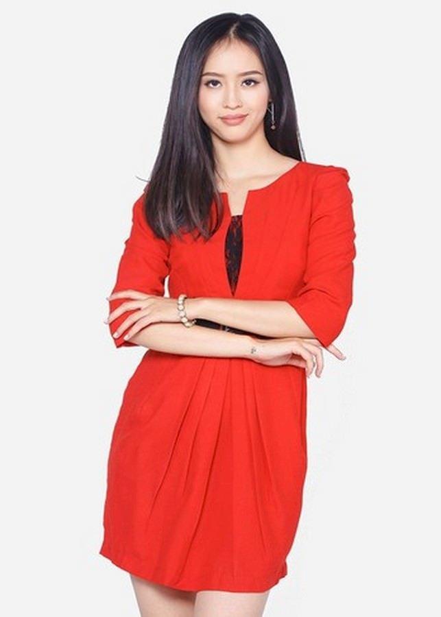 Đầm Nữ Tay Lỡ Xếp Ly Bụng - Đỏ