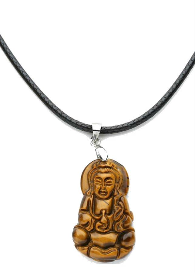Dây Đeo Và Mặt Phật Bà Quan Âm  Đá Mắt Hổ - Nâu (3 x 2 x 0.3 cm)
