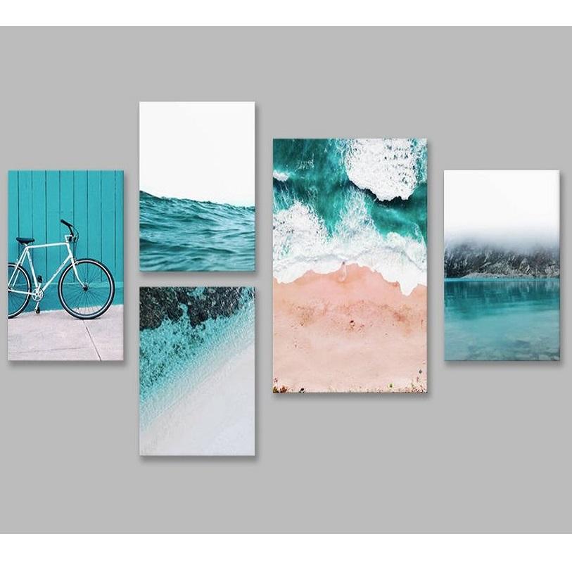 Bộ tranh Nature, blue, bicycle, sea